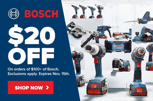 $20 Off on Bosch Cordless of $100+ Black Friday
