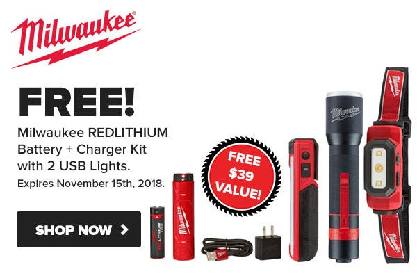 FREE Milwaukee USB Battery / Charger Kit with Select Lights Black Friday