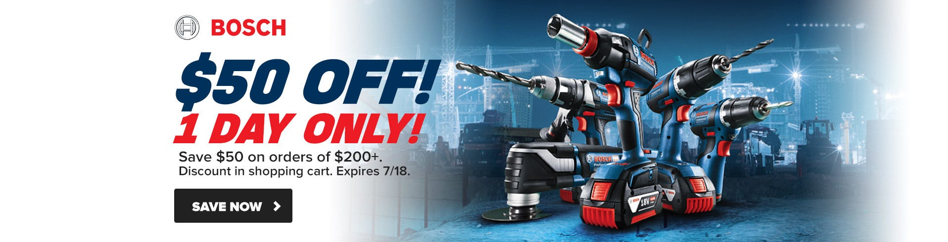 $50 OFF Bosch Flash Sale - ONE DAY ONLY!