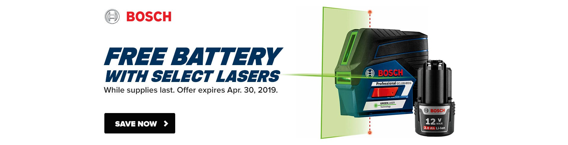 Free Battery with Bosch Laser Levels
