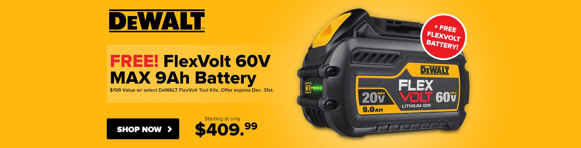 Free DeWALT FlexVolt 60V MAX Battery