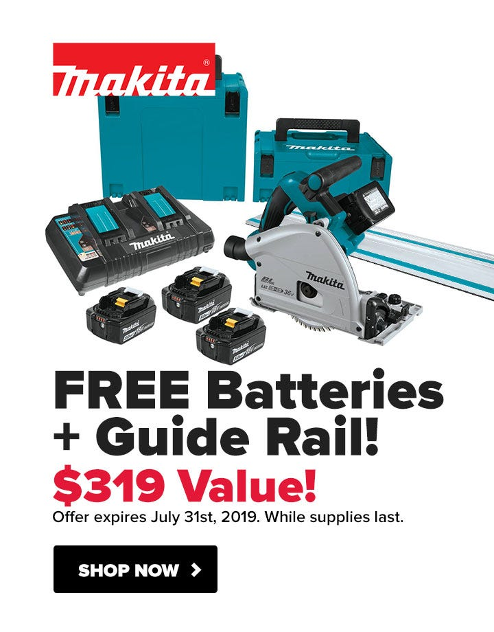 Makita FREE Guide Rail and Batteries with Track Saw Kit