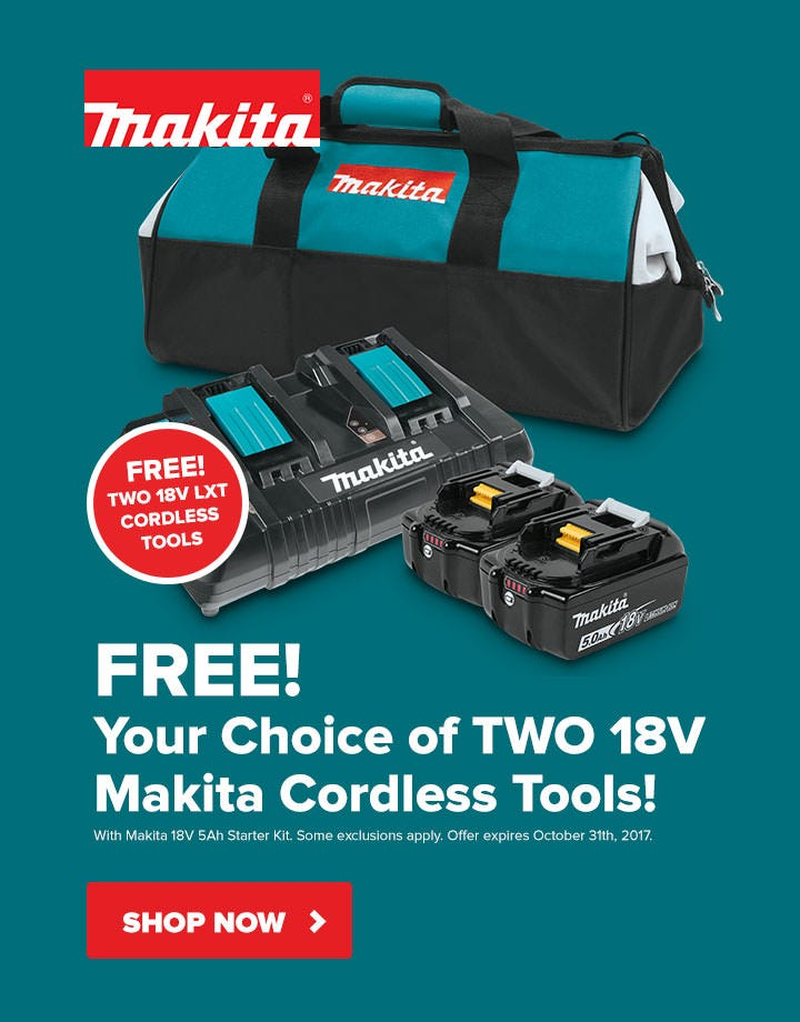 Free Two 18V Cordless Tools w/ 18V Starter Kit