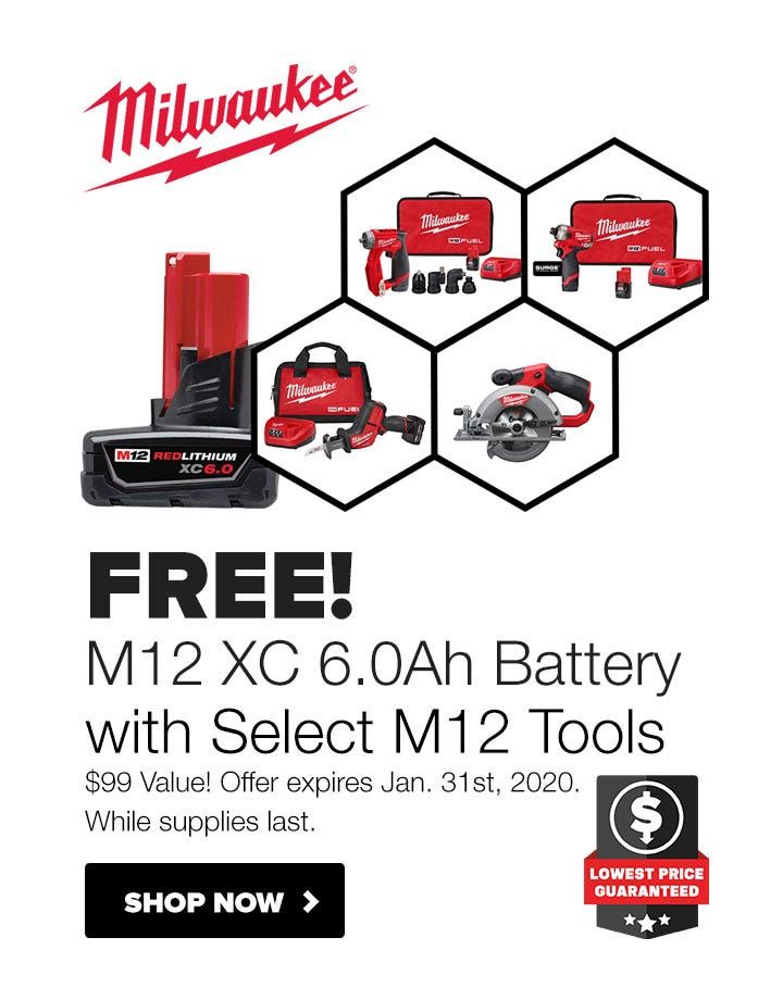 FREE Milwaukee M12 6.0Ah Battery with Select Tools