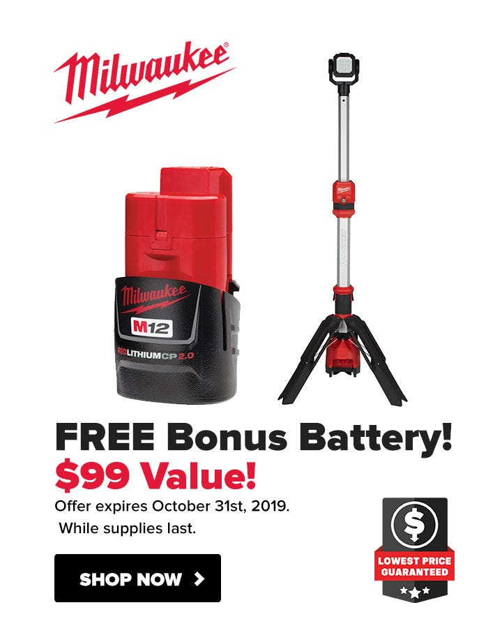 Milwaukee Free M12 2.0Ah Compact Battery with M12 LED Light