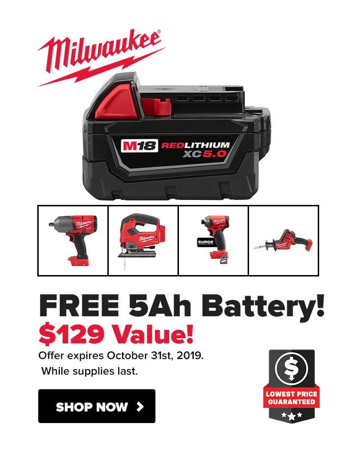Milwaukee Free M18 5.0Ah Battery with Select M18 Tools