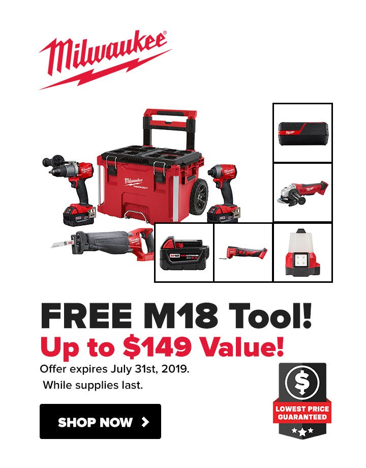 Free Milwaukee Bonus M18 Tool with Combo Kits
