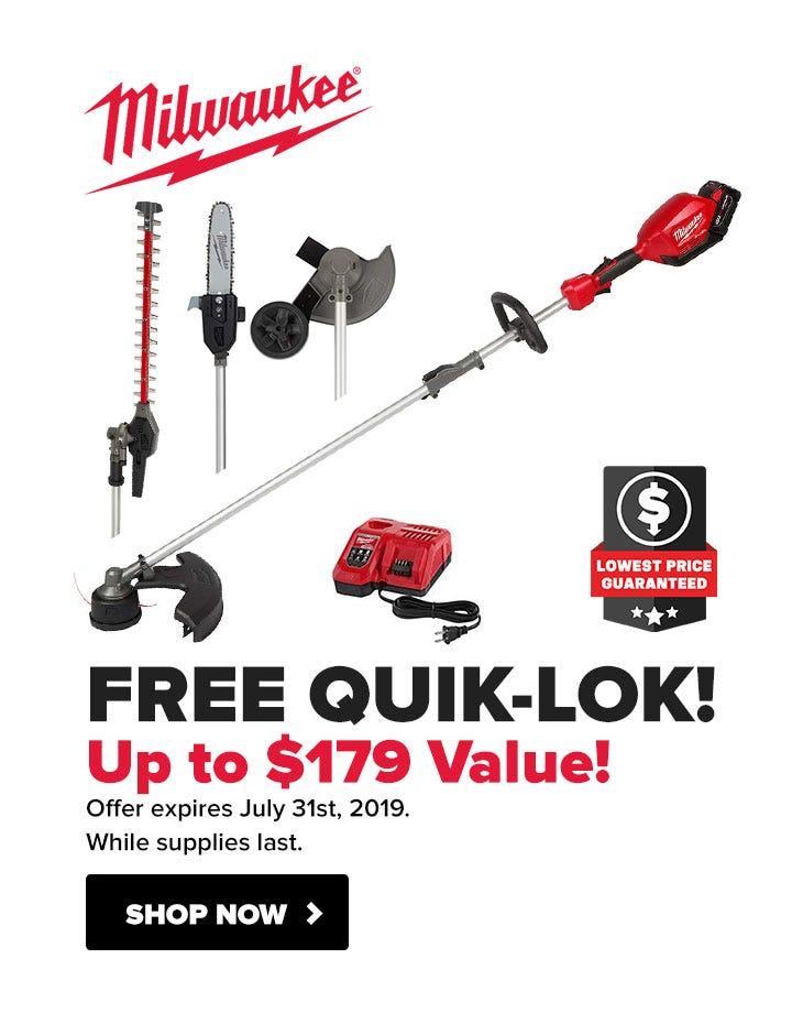 Free QUIK-LOK accessory with Milwaukee M18 Outdoor Power Equipment Trimmers