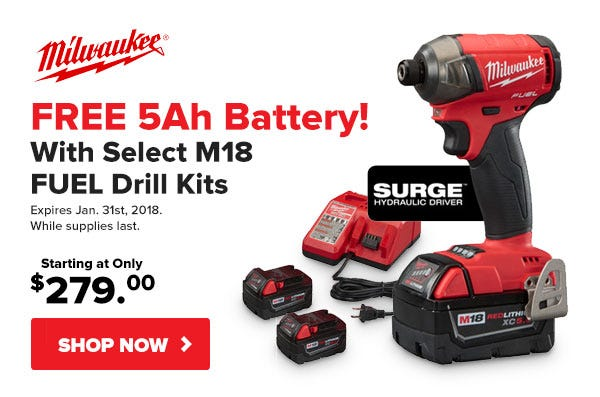 FREE Battery with Milwaukee M18 FUEL Kits