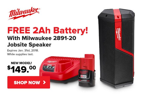 Free M12 Battery with Milwaukee Speaker